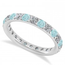 Diamond & Aquamarine Eternity Wedding Band 14k White Gold (1.44ct)