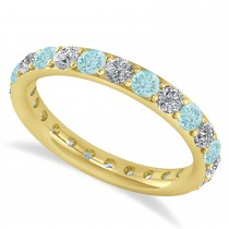 Diamond & Aquamarine Eternity Wedding Band 14k Yellow Gold (1.50ct)