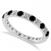 Black & White Diamond Eternity Wedding Band 14k White Gold (1.50ct)