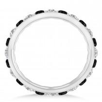 Black & White Diamond Eternity Wedding Band 14k White Gold (1.50ct)