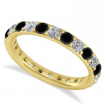 Black & White Diamond Eternity Wedding Band 14k Yellow Gold (1.50ct)