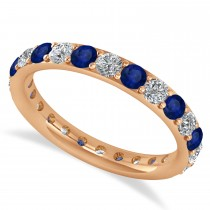 Diamond & Blue Sapphire Eternity Wedding Band 14k Rose Gold (1.50ct)