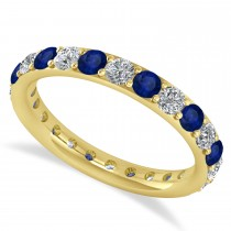 Diamond & Blue Sapphire Eternity Wedding Band 14k Yellow Gold (1.50ct)