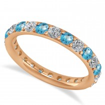 Diamond & Blue Topaz Eternity Wedding Band 14k Rose Gold (1.50ct)