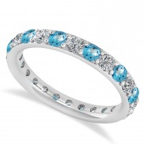 Diamond & Blue Topaz Eternity Wedding Band 14k White Gold (1.44ct)