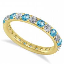 Diamond & Blue Topaz Eternity Wedding Band 14k Yellow Gold (1.50ct)