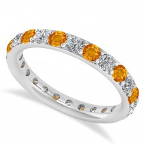 Diamond & Citrine Eternity Wedding Band 14k White Gold (1.50ct)