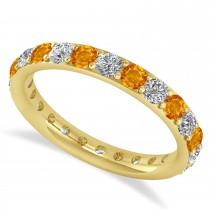 Diamond & Citrine Eternity Wedding Band 14k Yellow Gold (1.50ct)