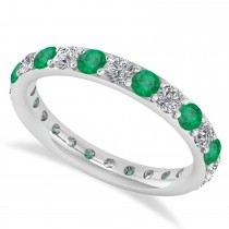 Diamond & Emerald Eternity Wedding Band 14k White Gold (1.44ct)