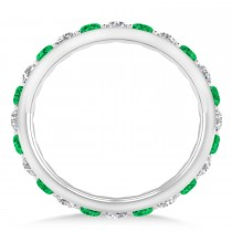 Diamond & Emerald Eternity Wedding Band 14k White Gold (1.50ct)