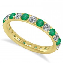 Diamond & Emerald Eternity Wedding Band 14k Yellow Gold (1.50ct)