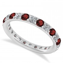 Diamond & Garnet Eternity Wedding Band 14k White Gold (1.50ct)