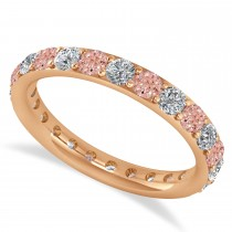 Diamond & Morganite Eternity Wedding Band 14k Rose Gold (1.50ct)