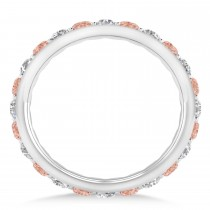 Diamond & Morganite Eternity Wedding Band 14k White Gold (1.50ct)