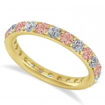 Diamond & Morganite Eternity Wedding Band 14k Yellow Gold (1.50ct)