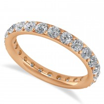Diamond & Moissanite Eternity Wedding Band 14k Rose Gold (1.50ct)