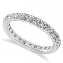 Diamond & Moissanite Eternity Wedding Band 14k White Gold (1.50ct)