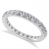 Diamond & Moissanite Eternity Wedding Band 14k White Gold (1.50ct)