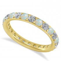 Diamond & Opal Eternity Wedding Band 14k Yellow Gold (1.44ct)