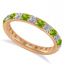 Diamond & Peridot Eternity Wedding Band 14k Rose Gold (1.44ct)