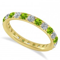 Diamond & Peridot Eternity Wedding Band 14k Yellow Gold (1.44ct)