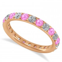 Diamond & Pink Sapphire Eternity Wedding Band 14k Rose Gold (1.50ct)