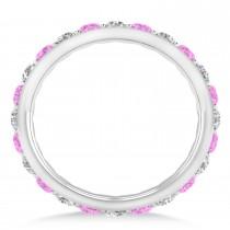 Diamond & Pink Sapphire Eternity Wedding Band 14k White Gold (1.50ct)