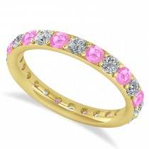 Diamond & Pink Sapphire Eternity Wedding Band 14k Yellow Gold (1.50ct)