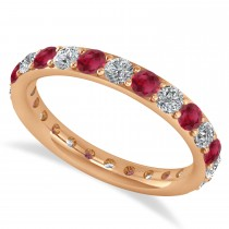 Diamond & Ruby Eternity Wedding Band 14k Rose Gold (1.50ct)