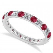 Diamond & Ruby Eternity Wedding Band 14k White Gold (1.44ct)