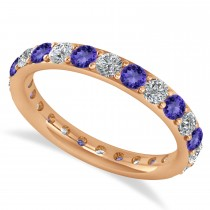 Diamond & Tanzanite Eternity Wedding Band 14k Rose Gold (1.50ct)