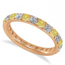 Yellow & White Diamond Eternity Wedding Band 14k Rose Gold (1.50ct)