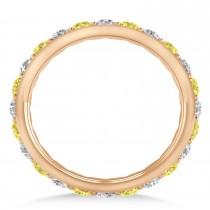 Yellow & White Diamond Eternity Wedding Band 14k Rose Gold (1.50ct)