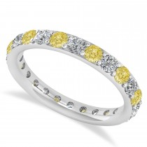 Yellow & White Diamond Eternity Wedding Band 14k White Gold (1.50ct)