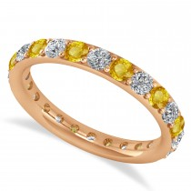 Diamond & Yellow Sapphire Eternity Wedding Band 14k Rose Gold (1.50ct)