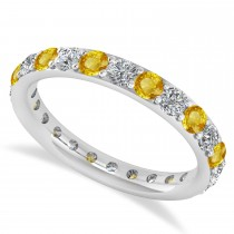 Diamond & Yellow Sapphire Eternity Wedding Band 14k White Gold (1.50ct)