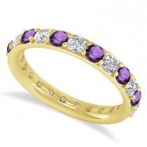 Diamond & Amethyst Eternity Wedding Band 14k Yellow Gold (1.61ct)