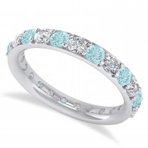 Diamond & Aquamarine Eternity Wedding Band 14k White Gold (1.61ct)