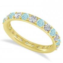 Diamond & Aquamarine Eternity Wedding Band 14k Yellow Gold (1.61ct)