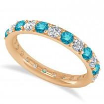 Blue Diamond Eternity Wedding Band 14k Rose Gold (1.61ct)