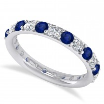 Diamond & Blue Sapphire Eternity Wedding Band 14k White Gold (1.61ct)