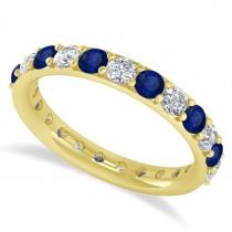 Diamond & Blue Sapphire Eternity Wedding Band 14k Yellow Gold (1.61ct)
