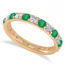 Diamond & Emerald Eternity Wedding Band 14k Rose Gold (1.61ct)