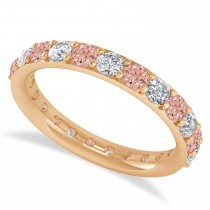 Diamond & Morganite Eternity Wedding Band 14k Rose Gold (1.61ct)