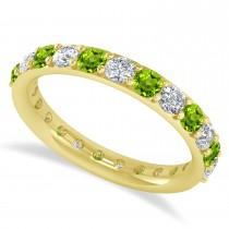 Diamond & Peridot Eternity Wedding Band 14k Yellow Gold (1.61ct)