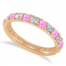 Diamond & Pink Sapphire Eternity Wedding Band 14k Rose Gold (1.61ct)
