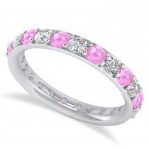 Diamond & Pink Sapphire Eternity Wedding Band 14k White Gold (1.61ct)