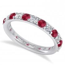 Diamond & Ruby Eternity Wedding Band 14k White Gold (1.61ct)