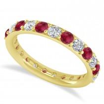 Diamond & Ruby Eternity Wedding Band 14k Yellow Gold (1.61ct)