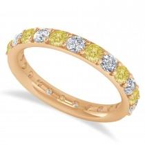 Yellow Diamond Eternity Wedding Band 14k Rose Gold (1.61ct)